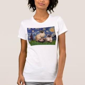 Noche estrellada - dos gatos siameses (Choc pinta) Camisetas