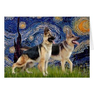 Noche estrellada - dos pastores alemanes tarjeta de felicitación