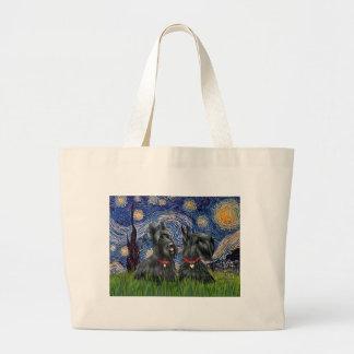 Noche estrellada - dos terrieres escoceses bolsa tela grande