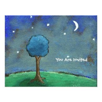 Noche estrellada, el árbol abstracto del paisaje p invitaciones personalizada