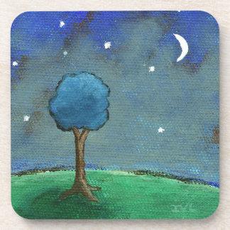 Noche estrellada, el árbol abstracto del paisaje p posavasos de bebidas