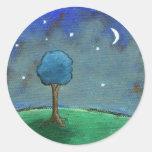 Noche estrellada, el árbol abstracto del paisaje pegatina redonda