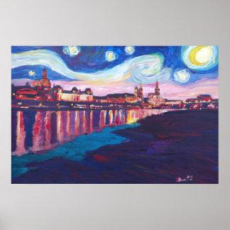 Noche estrellada en las inspiraciones de Dresden - Póster
