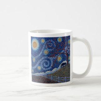 Noche estrellada encantada tazas de café