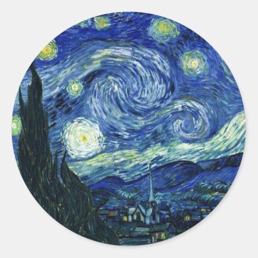 Noche estrellada etiqueta redonda