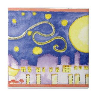 Noche estrellada falsa y café de Van Gogh Azulejo Cuadrado Pequeño