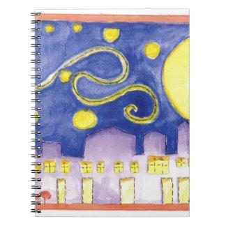 Noche estrellada falsa y café de Van Gogh Libros De Apuntes