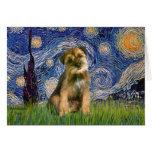 Noche estrellada - frontera Terrier #1 Felicitación