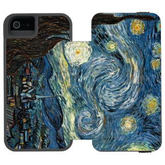 Noche estrellada funda billetera para iPhone 5 watson