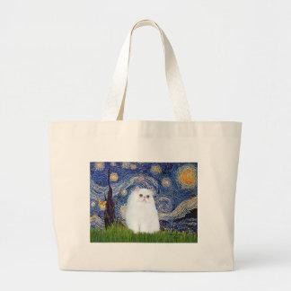 Noche estrellada - gatito persa blanco bolsa