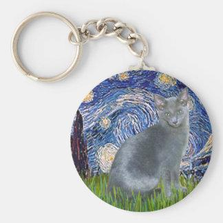 Noche estrellada - gato azul ruso 2 llavero redondo tipo pin