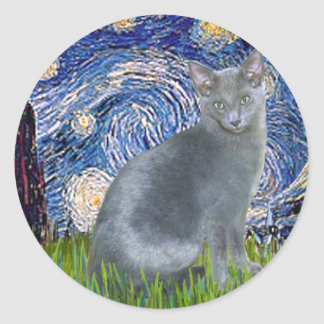 Noche estrellada - gato azul ruso 2 pegatina redonda