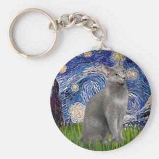 Noche estrellada - gato azul ruso llavero redondo tipo pin