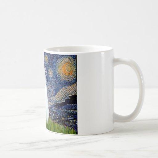 Noche estrellada - gato blanco tazas de café