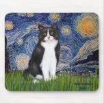 Noche estrellada - gato blanco y negro alfombrilla de ratones