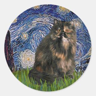Noche estrellada - gato de calicó persa etiqueta redonda
