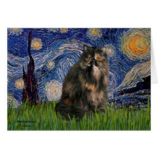 Noche estrellada - gato de calicó persa tarjeta