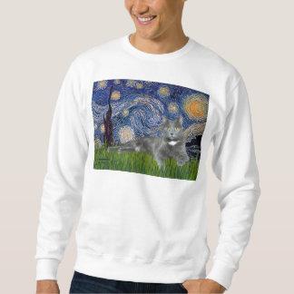 Noche estrellada - gato gris sudadera