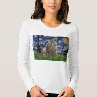 Noche estrellada - gato noruego del bosque camisas
