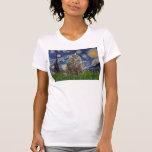 Noche estrellada - gato noruego del bosque camisetas