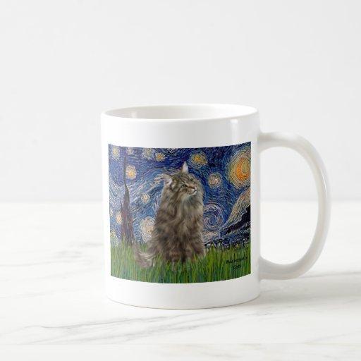 Noche estrellada - gato noruego del bosque taza