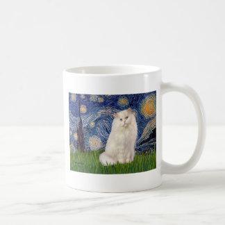 Noche estrellada - gato persa blanco taza