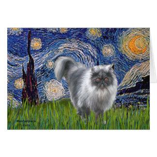 Noche estrellada - gato persa del humo azul tarjetas