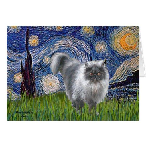 Noche estrellada - gato persa del humo azul tarjeta de felicitación
