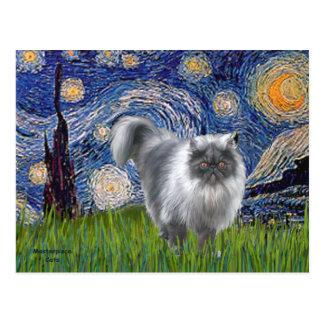 Noche estrellada - gato persa del humo azul postal