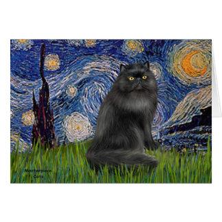 Noche estrellada - gato persa negro tarjetas