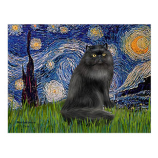 Noche estrellada - gato persa negro postal