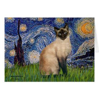 Noche estrellada - gato siamés del punto del sello tarjeta de felicitación