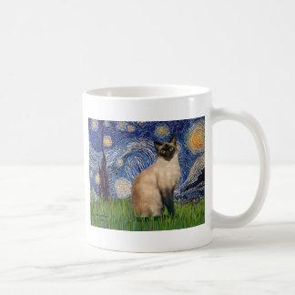 Noche estrellada - gato siamés del punto del sello taza