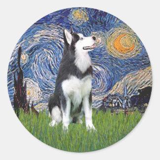 Noche estrellada - husky siberiano #1 pegatina redonda