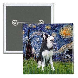 Noche estrellada - husky siberiano #1 pin cuadrada 5 cm