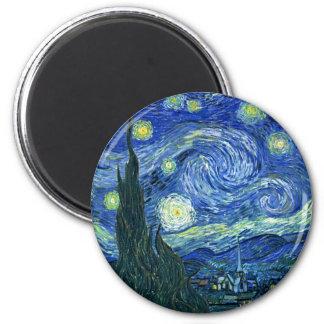 Noche estrellada imán redondo 5 cm
