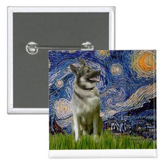Noche estrellada - noruego Elkhound Pin Cuadrado