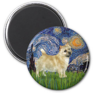 Noche estrellada - Norwich Terrier Imán Redondo 5 Cm