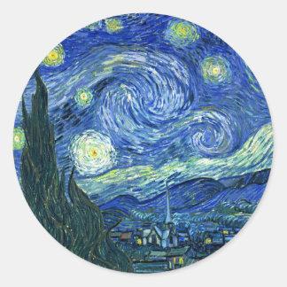 Noche estrellada pegatina redonda