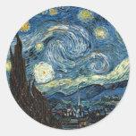 Noche estrellada pegatinas redondas