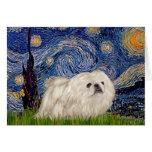 Noche estrellada - Pekingese blanco 4 Tarjeton