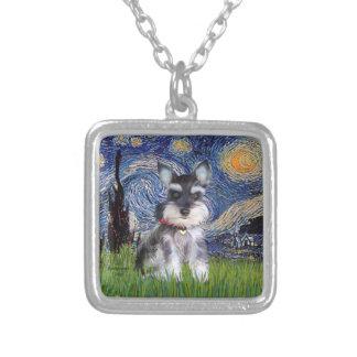 Noche estrellada - perrito #10 del Schnauzer Colgante Cuadrado