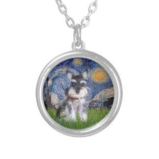 Noche estrellada - perrito #10 del Schnauzer Colgante Redondo