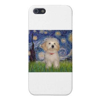 Noche estrellada - perrito de Havanese iPhone 5 Cárcasa