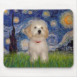 Noche estrellada - perrito de Havanese Tapete De Ratones