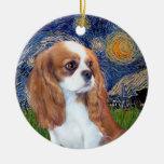 Noche estrellada - perrito de los caballeros de adorno redondo de cerámica
