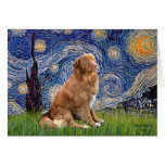 Noche estrellada - perro perdiguero del balanceo d felicitación