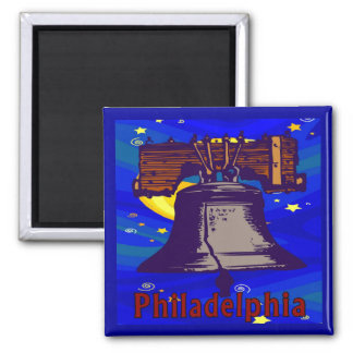 Noche estrellada Philadelphia Liberty Bell Imán Cuadrado