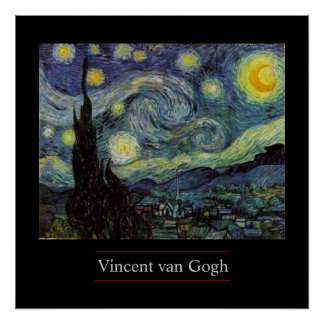 Noche estrellada por el poster del Poste-Impresion