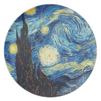 Noche estrellada por la placa de Vincent van Gogh Plato De Comida